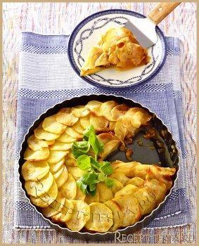 Картофельный пирог с грибами и ветчиной